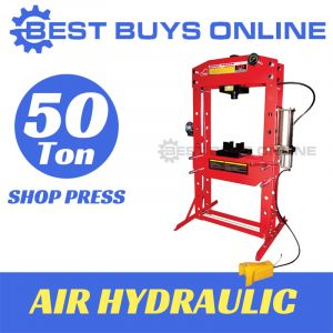 50 TON SHOP PRESS AIR HYDRAULIC Operated Super Heavy Duty with Gauge, Foot Pedal & Hand Winch
