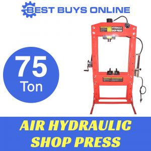 AIR HYDRAULIC SHOP PRESS 75 TON SLIDING HEAD with Pressure Gauge, Foot Operated Pedal