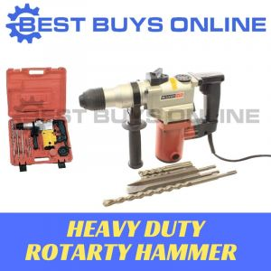 ROTARY HAMMER ELECTRIC Jackhammer Drill with Chisel SDS Drill Bits & Carry Case