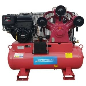 Petrol Air Compressor 53 CFM 13 HP Briggs & Stratton Electric Motor 150L Tank
