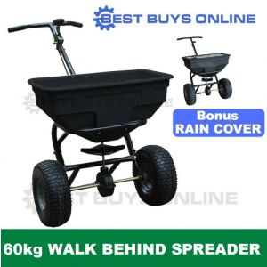 Fertilizer Spreader 60 Kg Walk behind Broadcast include Hopper Screen, Rain Cover