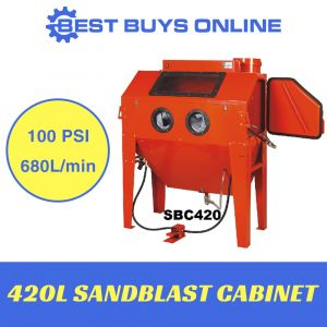 SANDBLAST Sand blaster Cabinet 420L Industrial Use FAD 680 L/min Foot operated