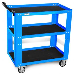 Workshop Trolley Utility Cart SP40019 Tools Organiser 3 Shelves Steel Frame (Optional Colour Orange / Blue / Green)