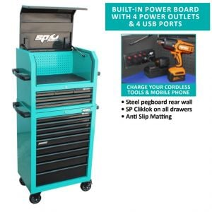 TOOL BOX ROLLER CABINET 14 Drawers built-in power board & USB ports Sumo series SP40690T