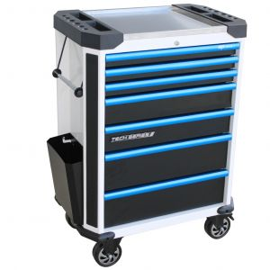 SP Tech Series Roller Cabinet - 7 Drawer Tool Box - White/Blue Handles SP42255