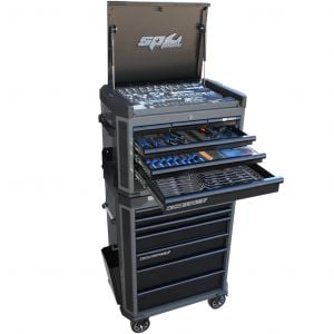Tool Box SP50039D Tool Chest Trolley 14 Drawer Cabinet Black Tool box / 213 pc Tool Kit