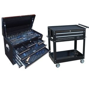 SP Tools SP50111 135 Piece Metric/Sae Tool Kit in Custom Series Tool Box Bonus Trolley