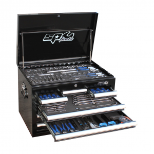 SP Tools Kit 201 pc Metric SP50120 Tool Box 7 Drawer Black Custom Tool Cabinet