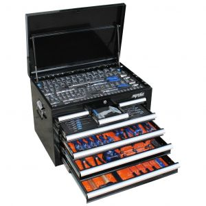 SP Tools Tool box Chest Storage Cabinet 7 Drawers SP50121 218 pieces Tool Kit with sockets set, spanners, hammer, etc.