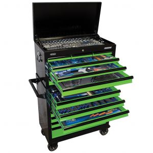 SP Tool Box 407pc Tool Kit 14 Drawer Roller Cabinet SP50177 Green