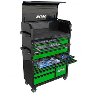 SP Tools Roller Cabinet 18 Drawers Sumo Series Power Hutch - 276 pc Tool Kit  - Metric/Sae - Black/Green