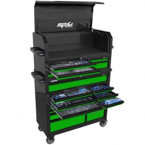 SP Tools SP50554G Tool Box Roller Cabinet Sumo Series Power Hutch Tool Kit - 488 piece - Metric/Sae  Black/Green