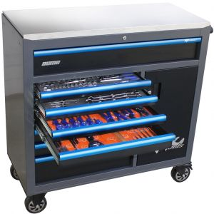 Custom Series Roller Cabinet Tool Kit With Power Tool Cupboard - 235 PC - Metric/Sae - Diamond Black/Blue Handles