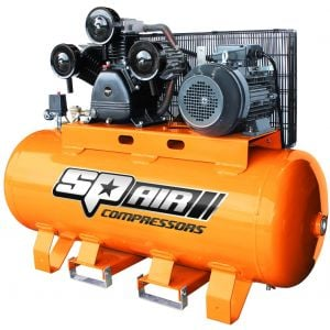 SP ELECTRIC 3 PHASE AIR COMPRESSOR 10HP TRIPLE CAST IRON 270L Tank 1085 L/Min