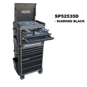 SP Tools Kit 269 pc SP52535D Tool Box 14 Drawer Roller Cabinet Diamond Black Tech Series