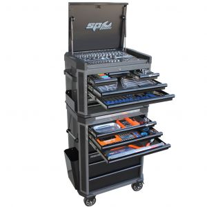SP Tool Box SP52565D Tools Kit 293 pc 14 Drawer Roller Cabinet Diamond Black Tech Series