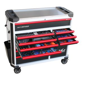 Tool Box Roller Cabinet 268pcs Tools Kit w/ Sockets, Spanners Work Light, Digital Multimeter SP52636