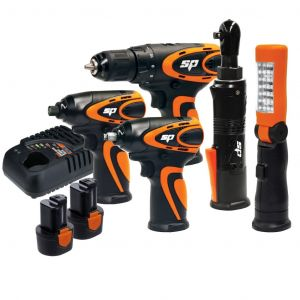 IMPACT WRENCH, DRILL DRIVER, IMPACT DRIVER & BATTERY CHARGER COMBO KIT SP CORDLESS TOOLS 12V SP82146