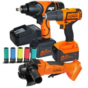 "ANGLE GRINDER 5"" (125mm), IMPACT WRENCH, DRILL DRIVER 18V Combo KIT with battery & charger SP82201"
