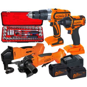 "18V ANGLE GRINDER, IMPACT DRIVER, DRILL DRIVER & CUTTING SHEAR Brushless Combo Kit SP82222 Bonus 1/2""DR Socket Set"