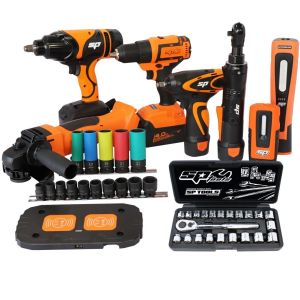 "18V CORDLESS TOOLS COMBO KIT Drill Driver, Impact Wrench, LED Light, Angle Grinder 5"" Bonus Nut Impact Socket Set SP SP82232"