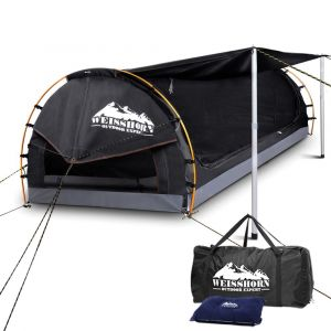 Weisshorn King Single Swag Camping Swag Canvas Tent - Dark Grey or Celadon
