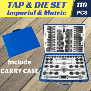 TAP & DIE SET 110 pieces Quality Imperial Metric Repair Kit in Plastic Case