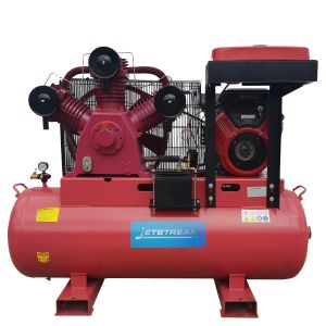 Petrol Air Compressor 82 CFM 23 HP Briggs & Stratton Electric Start Engine 3 cylinder Pump Fusheng Style