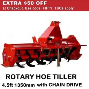 Tractor Rotary Hoe Tiller 4.5 FT 1350 MM Garden Cultivator with Chain Drive