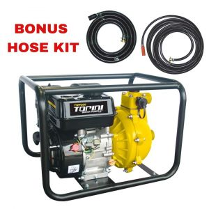 "Fire Fighting 1.5"" Water Transfer Pump 6.5HP Petrol High Pressure Bonus Hose Kit"