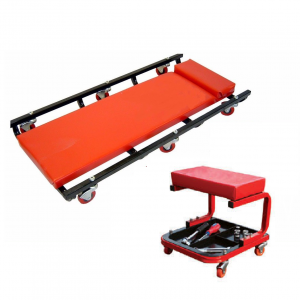 Garage Creeper & Roller Seat with padded top for garage, workshop