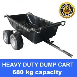 Poly Dump Cart Heavy Duty 680 kg tow behind ATV Trailer 4 wheels 1500 lbs