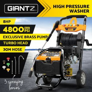 High Pressure Washer 4800 PSI with 30M Hose Reel 8HP Petrol Engine. BONUS Turbo Head for powerful cleaner