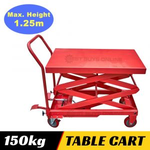 HYDRAULIC TABLE CART SCISSOR LIFT TROLLEY 150 KG 1250 mm Lifting Height